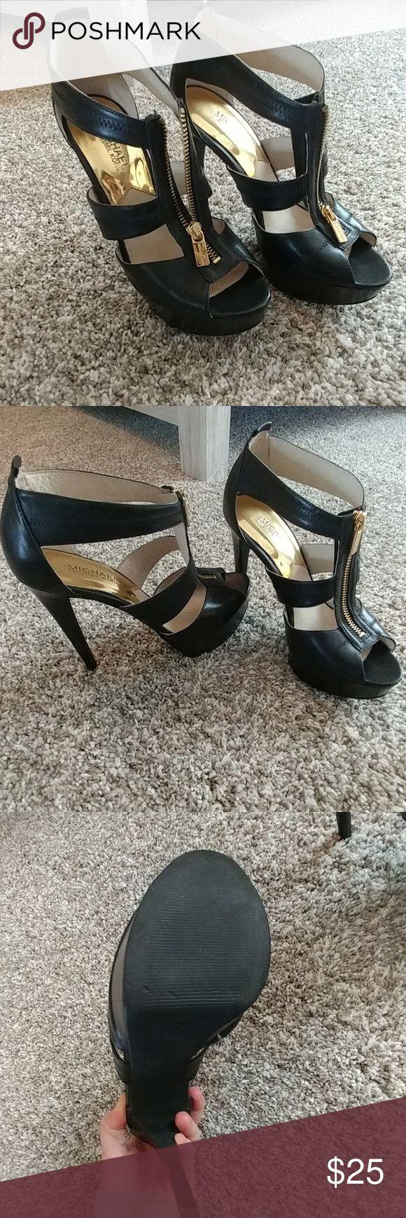 Michael Michael kors heels Black heels with gold zippers. Super chic! Had knee surgery so my days wearing tall heels are over 😭😭 MICHAEL Michael Kors Shoes Heels