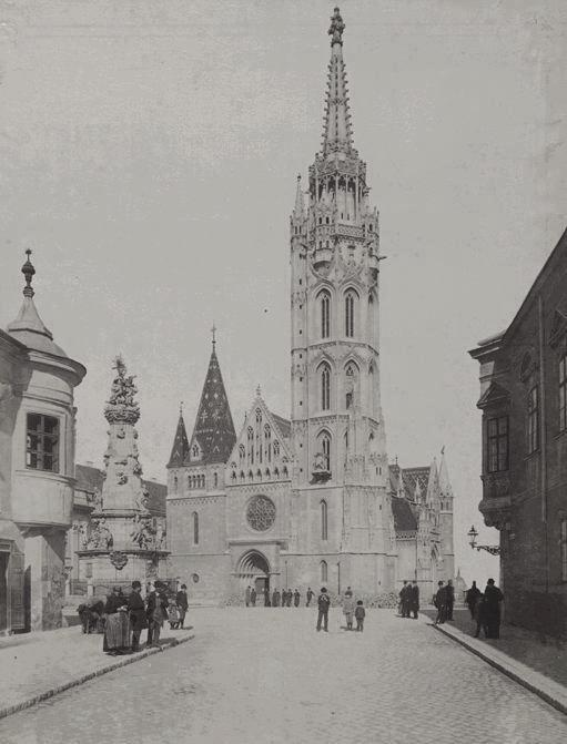 Holy Trinity Square and the Matthias Church In the Buda Castle, Budapest, 1892.