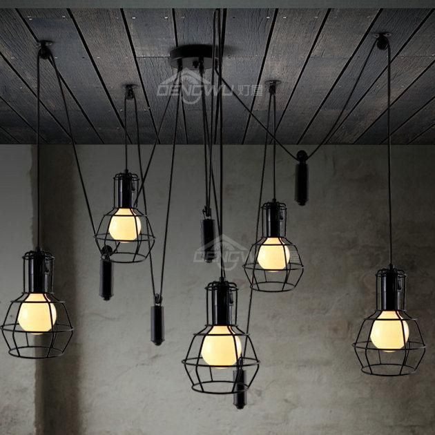 Tuinieren 6-light kleine katrol retro loft vintage hanger licht, Zwarte kleur, Verzending