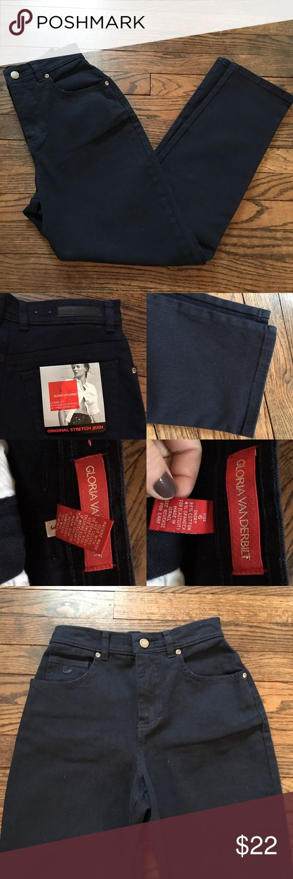 "NWT Gloria Vanderbilt Classic Fit Navy Jeans 6S ITEM: NWT Gloria Vanderbilt Original Stretch Jean, Classic Fit, Size 6S or 6P Navy Blue  Measurements: 12.5"" flat across the waist, 18"" flat across hips, Inseam 28"" and ankle flat 6""  11"" Rise (high waisted)  Condition: No holes or stains, non-smoking home  Shop with confidence! I take pride in describing my listings exactly as they are in real life. I don't hide flaws or problems, they are always noted and photographed. I like to ship quickly…"