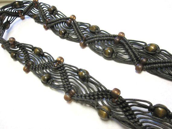 Vintage Macrame Fringe Belt Brown Braided Belt by sweetie2sweetie