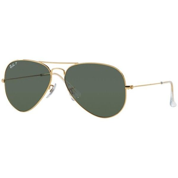 Ray-Ban Aviator Gold Sunglasses - rb3025 (650 BRL) ❤ liked on Polyvore featuring accessories, eyewear, sunglasses, glasses, ray ban sunglasses, ray ban eyewear, aviator style sunglasses, gold glasses and aviator style glasses