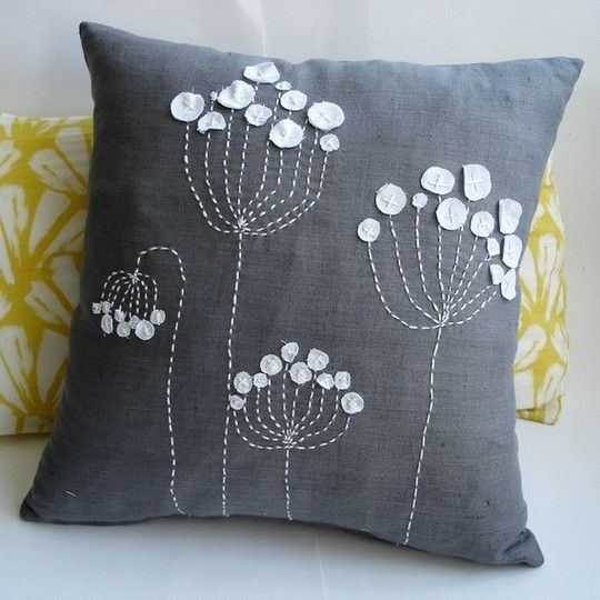 this wouldn't be that hard to make... love the white-on-grey and the imperfect embroidery.