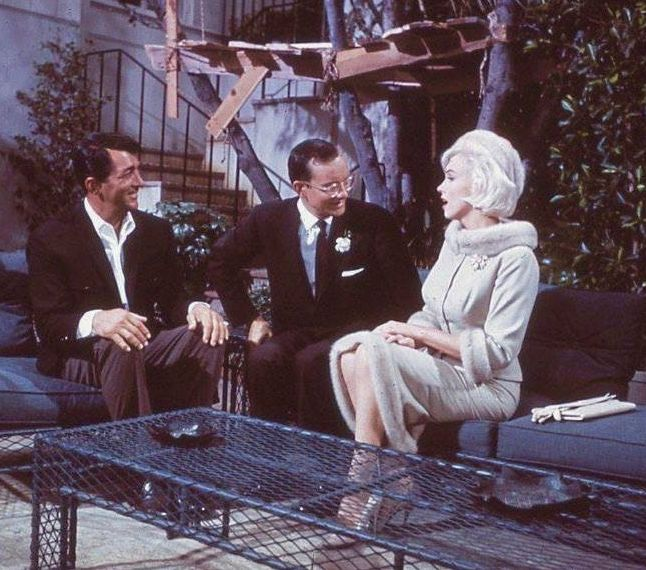 Marilyn with Dean Martin and Wally Cox filming Something's Got To Give, 1962.