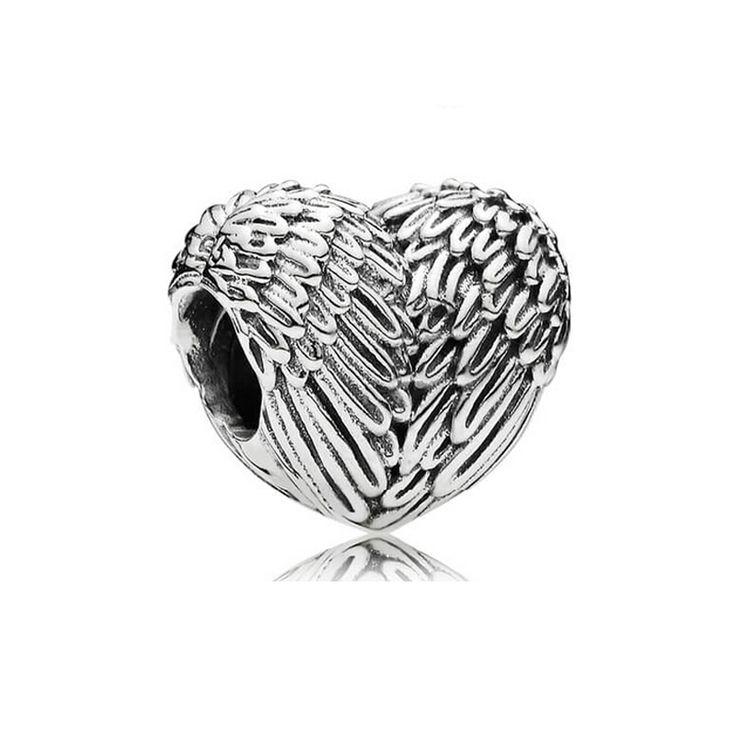 Goedkope Europese 925 zilver delicate engelenvleugels hart charm kralen fit pandora armbanden voor vrouwen diy jewerly maken kerstcadeau, koop Kwaliteit kralen rechtstreeks van Leveranciers van China: