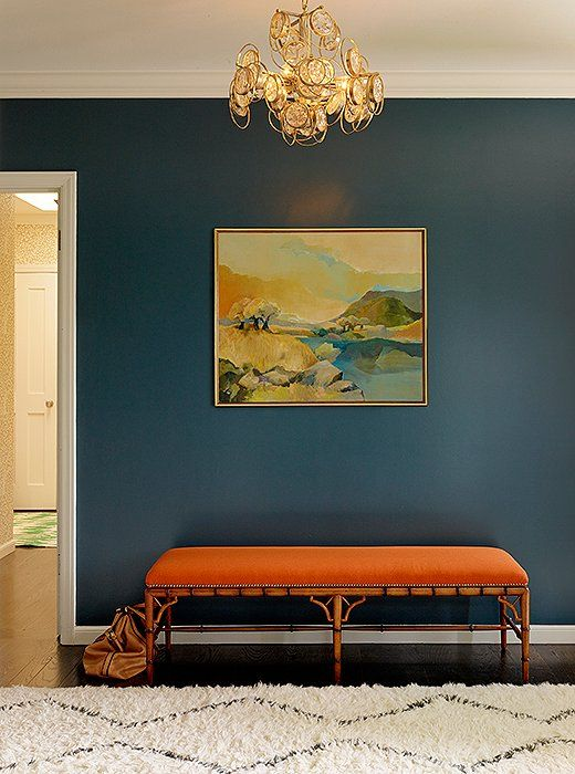 Bold and beautiful blue and orange entryway, by Redmond Aldrich Design of Decorist, photographed by Matthew Millman.