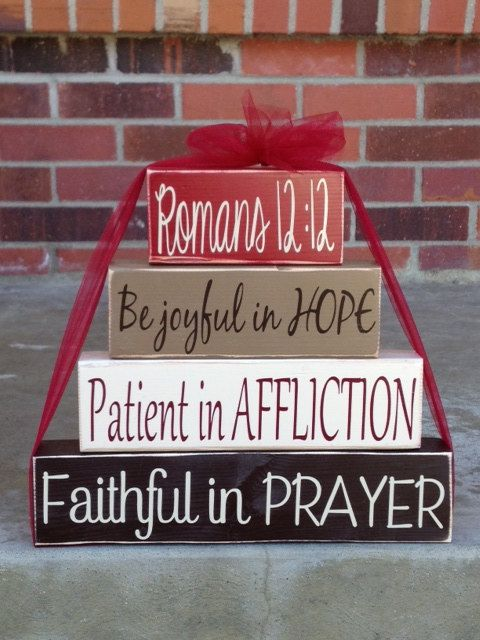 4 tier wood block set stacker Romans 12:12 Be joyful in hope patient in affliction faithful in prayer church religious gift home decor