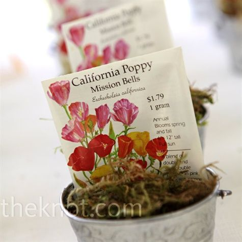 Forget-Me-Nots instead? #alphaphi Guests took home packets of California poppy and wildflower seeds packaged into galvanized pails, which also served as escort cards.: Wedding Favors, Seeds Packets, Escort Cards, Seeds Favors, Wildflowers Escort, Cute Ideas, Flowers Seeds, Bridal Shower Favors, Cards Favors