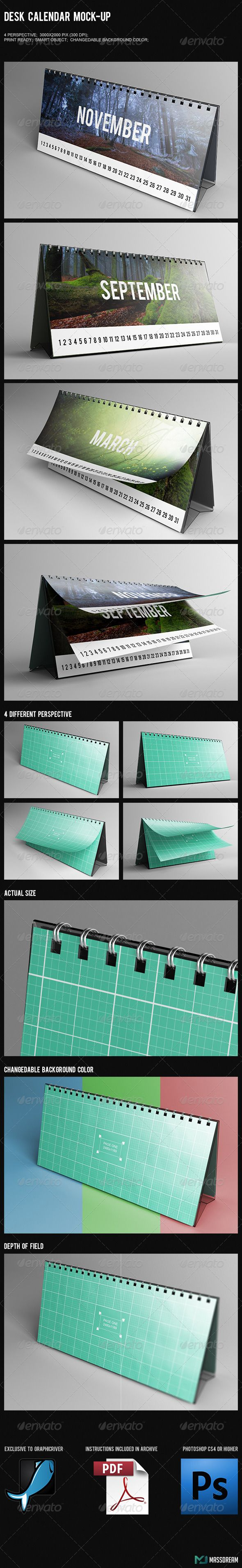 Desk Calendar Mock-Up - Product Mock-Ups Graphics
