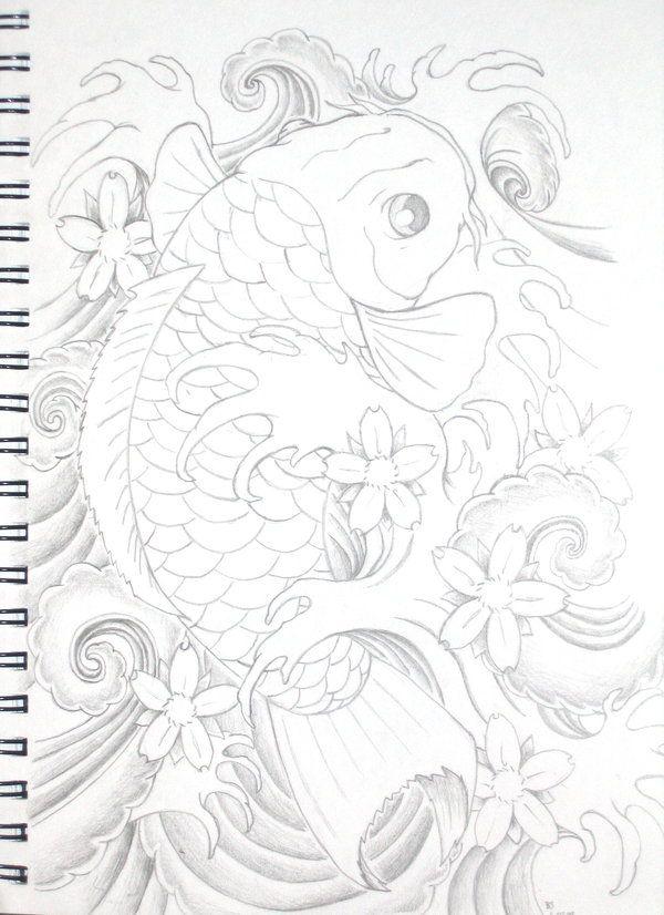 Koi tattoo b and w by bsguru.deviantart.com