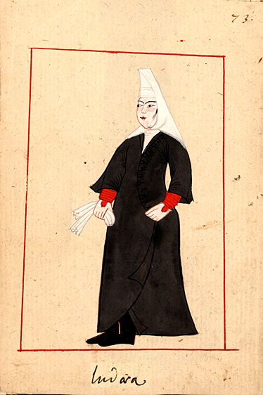 Jewish woman. The 'Rålamb Costume Book' is a small volume containing 121 miniatures in Indian ink with gouache and some gilding, displaying Turkish officials, occupations and folk types. They were acquired in Constantinople in 1657-58 by Claes Rålamb who led a Swedish embassy to the Sublime Porte, and arrived in the Swedish Royal Library / Manuscript Department in 1886.