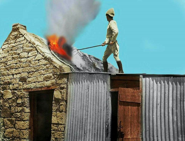 Lt. O'Reilly burning a Boer farmstead. ABW