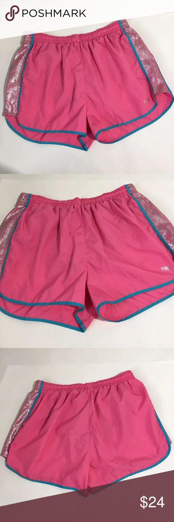 "VS PINK Workout Athletic Shorts Builtin Liner Lrg Women's PINK workout athletic shorts with builtin lining underwear. Size L. 14.5"" waist, 13"" waist to hem. Excellent condition no flaws PINK Victoria's Secret Shorts"