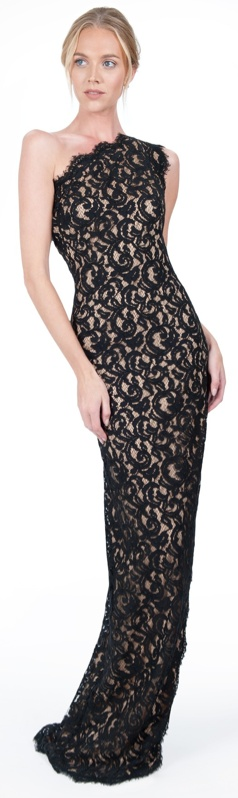 Black / Nude Lace One Shoulder Gown is <3