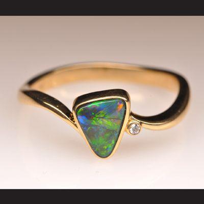 Natural Solid Black Opal 18k Gold Ring