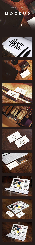 Free Business Card and Tablet PSD Mockup by Tomasz Mazurczak #businesscard #mockups