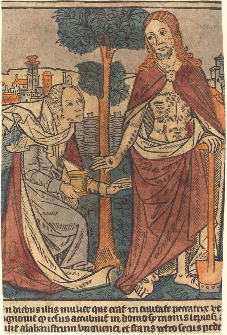 """French 15th Century """"Christ Appearing to Mary Magdalene"""" c. 1500 woodcut, hand-colored in maroon, orange, yellow, blue-green, mauve, and flesh; possibly applied with stencils National Gallery of Art"""