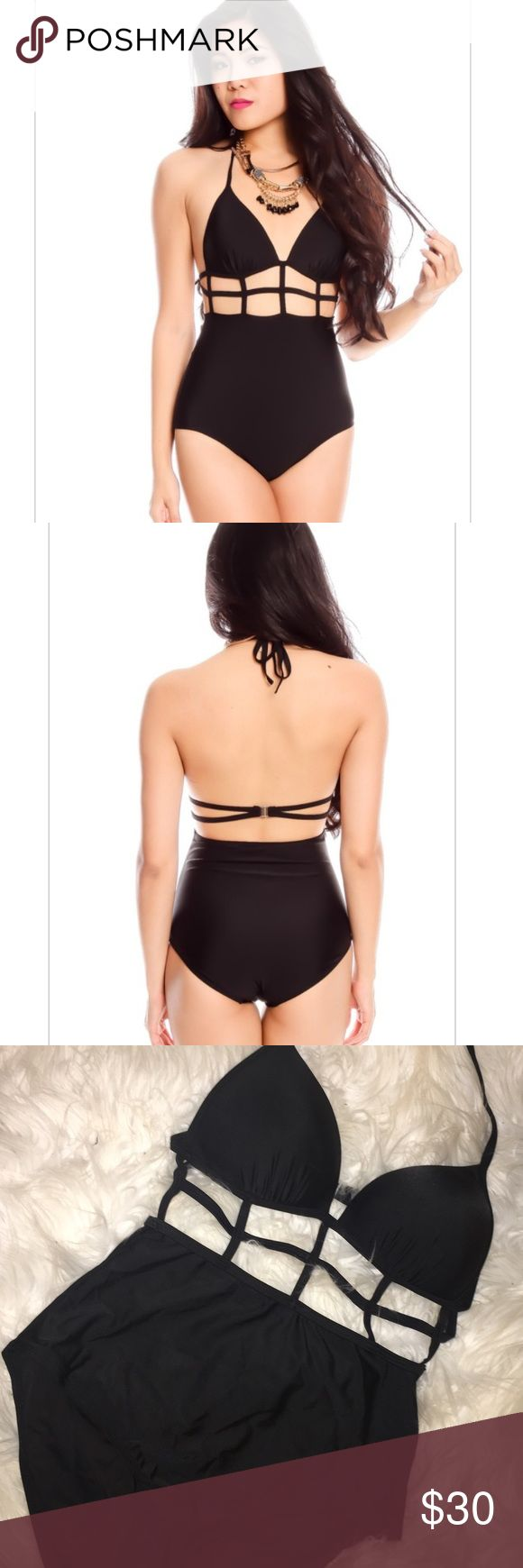 """New Women's Black One Piece Cut Out Swimsuit Gorgeous Women's Medium Black One Piece Swimsuit Bikini Swimwear. Top has slightly Padded cups, ties at the neck and clip in the back. Cuts outs in the front to give a sexy look. Bottom is full coverage with hygienic liner attached.   Modeled: Size M Material: Polyester/Spandex Measurements Estimate: Length 24"""", hips 38"""", Chest B/C/D, stretchable  NO BRAND  ✔️Ships 2-4 business days :) ✖️Questions to answers that are already stated in the…"""