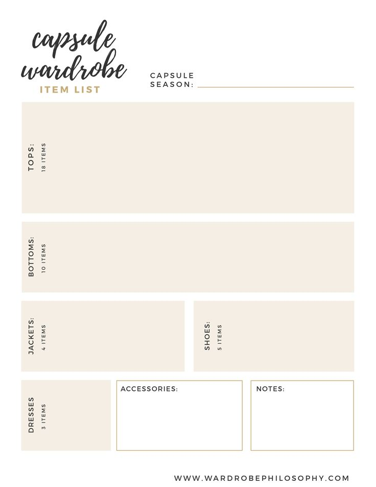 The Capsule Wardrobe Wardrobe List: Want to have a capsule wardrobe, but aren't too sure how to break it down? Get the free list planner today ! Pin for later use or click through to the blog today!