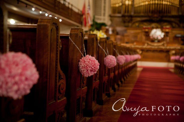 Wedding Ceremony Decor anyafoto.com #wedding, church wedding, indoor wedding, wedding ceremony decor ideas, flowers on pews, pink flowers on pews