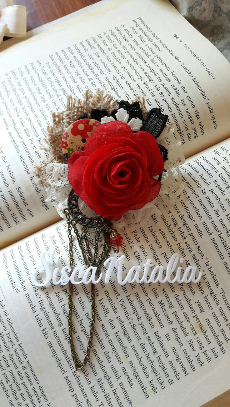 Red rose shabby vintage lace corsage brooch