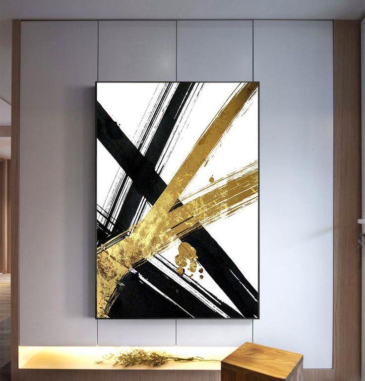 Harten Hieb große Wand, skandinavische Kunst, industrielle Kunst, Brush Stroke Print, Instant Download druckbare schwarz und gold Pinselstrich