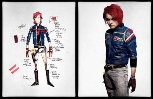 Gerard Way's concept art for the Killjoy character Party Poison, side by side with the final design worn by Gerard Way   Make a wish when your childhood dies Tumblr   Explaining the world of the Killjoys in complete and total detail.