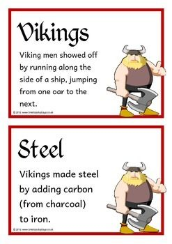 A set of 24 A5 printable fact cards that give fun and interesting facts about the Vikings. Each fact card has a key word heading, making this set an excellent topic word bank/ word wall as well! Visit our TpT store for more information and for other classroom display resources by clicking on the provided links.