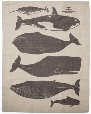 whales tea towel >>  love the whales. Love the large blocks of solid color. SIngle composition, one color, neutral background.