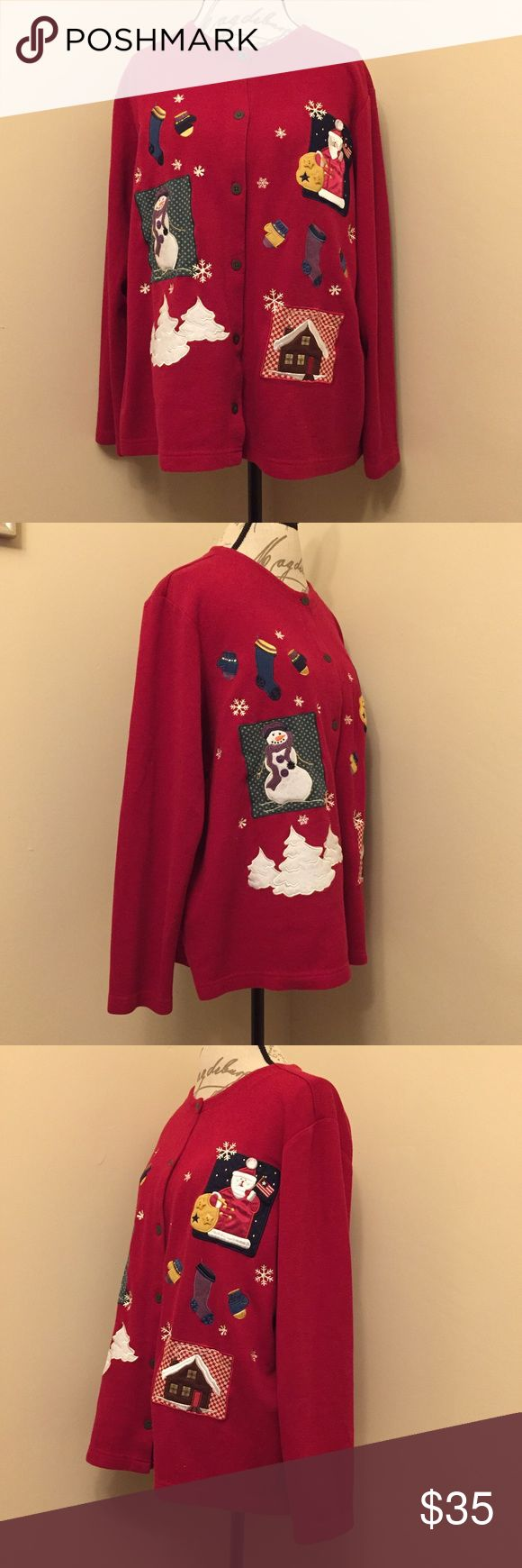 Christmas Cardigan Super cute Holiday cardigan! Euc! Great for teachers, or for the next Ugly Sweater Contest! Wear alone, or add some flair to get first prize.   60% Cotton  40% Polyester   Make me an offer OR Bundle two or more items and save 20%! Karen Scott Sweaters Cardigans