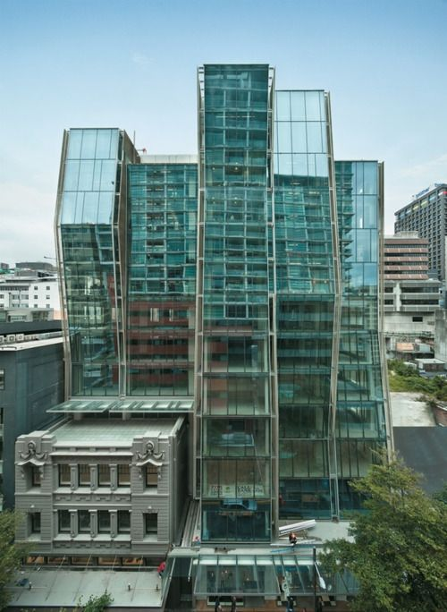 Telecom Central by Architecture+, Wellington, New Zealand.   The 14 storey tower integrates a heritage listed building.