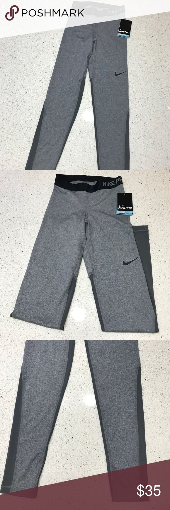 Nike Greg Dry Fit Leggings NWT - 100% Authentic NIKE tights, long ankle length. These stylish light grey, two toned tights dry fit cooling tights are what you need for a productive workout or casual day out! Nike Pants Leggings