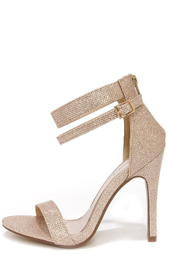 cute on the bridesmaids with the black Lupid 2 Champagne Glitter Ankle Strap Heels at Lulus.com!