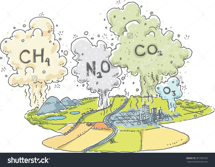 Cartoon Landscape Clouds Greenhouse Gases Such Stock Vector ...