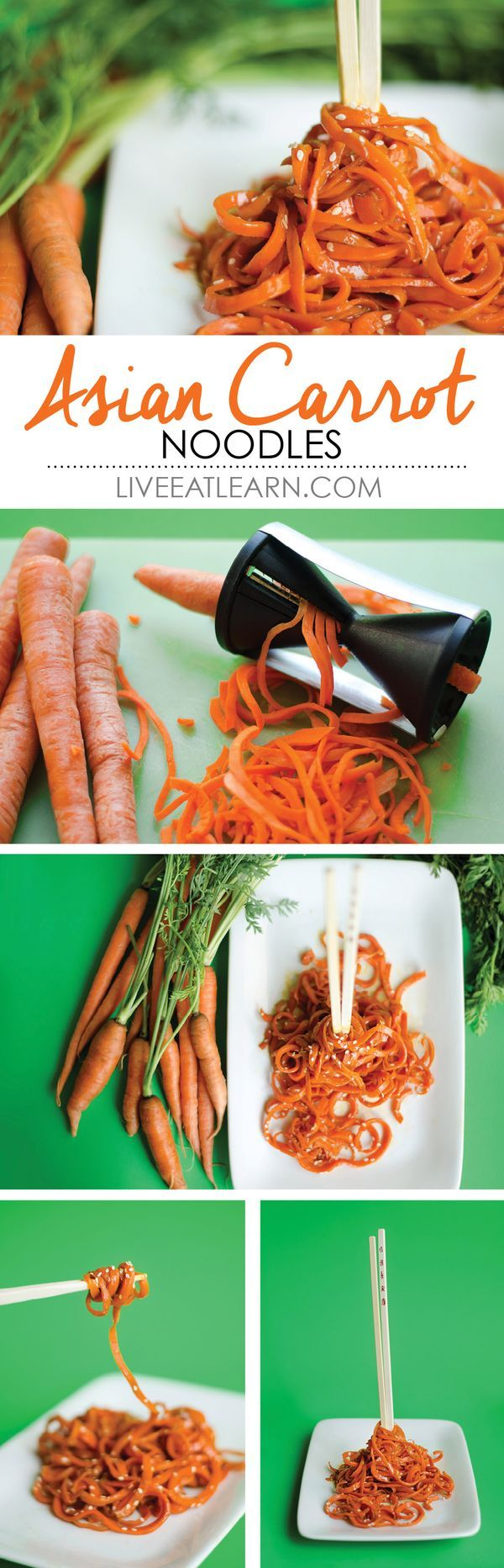 Aiming for some clean eating? Try out these carrot noodles in a simple Asian sauce! High in fiber, low in calories and fat, so healthy, and delicious!