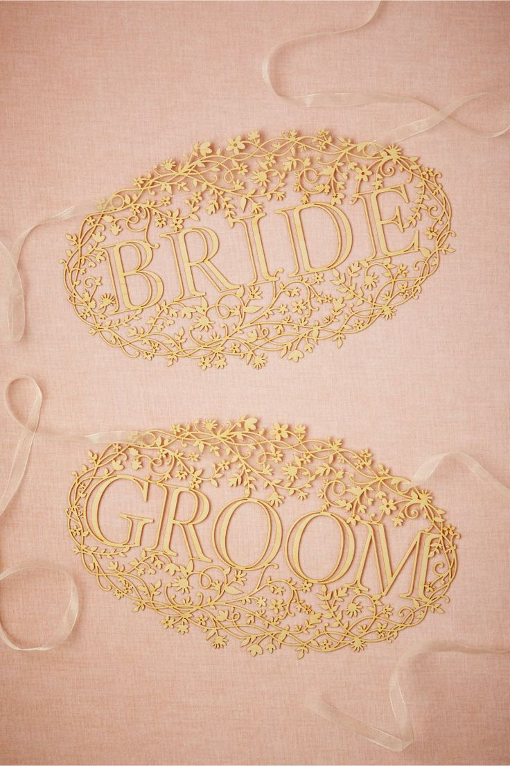 lace inspired, laser-cut wood signs for the Bride  Groom. Bride  Groom Banners from BHLDN