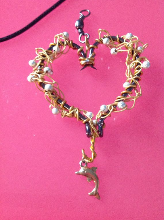 Fish hook necklace fishing hook heart crocheted with gold for Fish hook charm