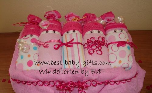 how to make diaper cakes and other diaper gifts - free tutorials