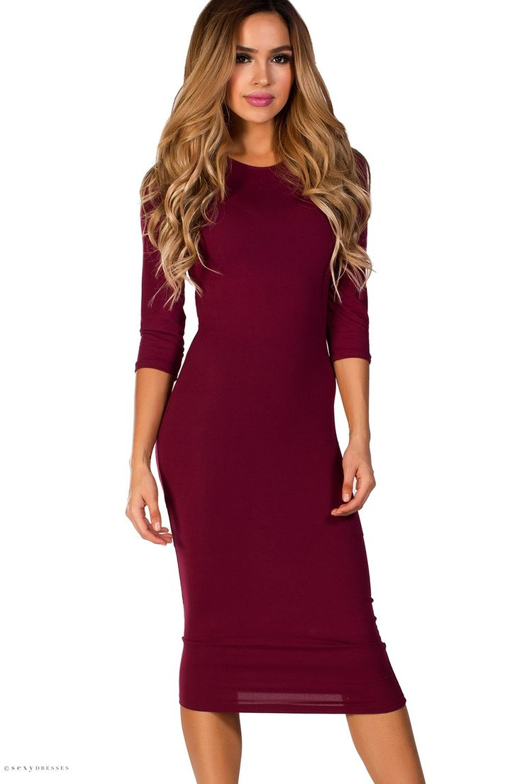 Jersey Bodycon Burgundy Midi Dress with Sleeves