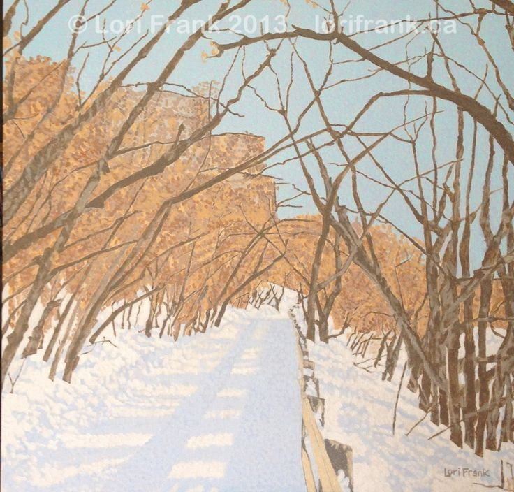 """Unnamed winter trail painting. Acrylics on canvas 20"""" x 20"""".  This is from my ongoing series Trailblazing of Edmonton's river valley. www.lorifrank.ca"""