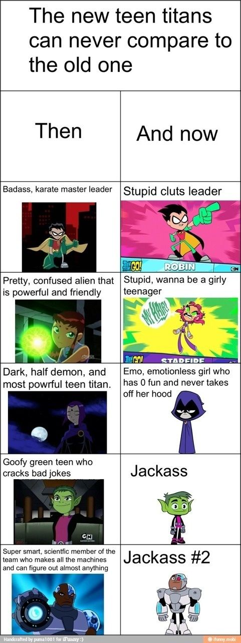 Teen Titans then and now. I HATE Teen Titans  Go! It took all the reasons Teen Titans was fun and important and replaced it with crap!