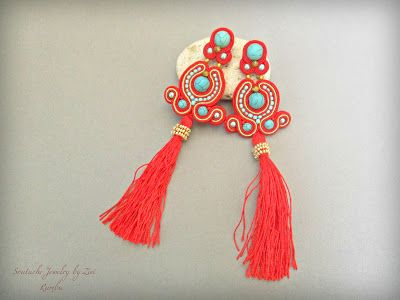 El Rinconcito de Zivi: Pendientes Soutache Flecos, Pendientes Largos Soutache, Pendientes Flamenca Flecos, Joyas Soutache