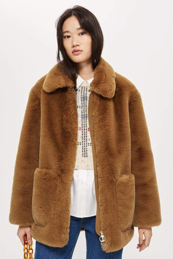 63416fc1d4 Topshop Faux Fur Zip Up Jacket Faux Fur Zip Up Jacket Fur Coat, Topshop,