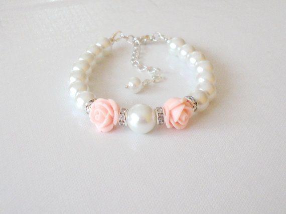 Flower Girl  Bracelet , Flower Girl Jewelry Gift, Wedding White Pearls and Light Pink Rose Flower,Bling Bracelet