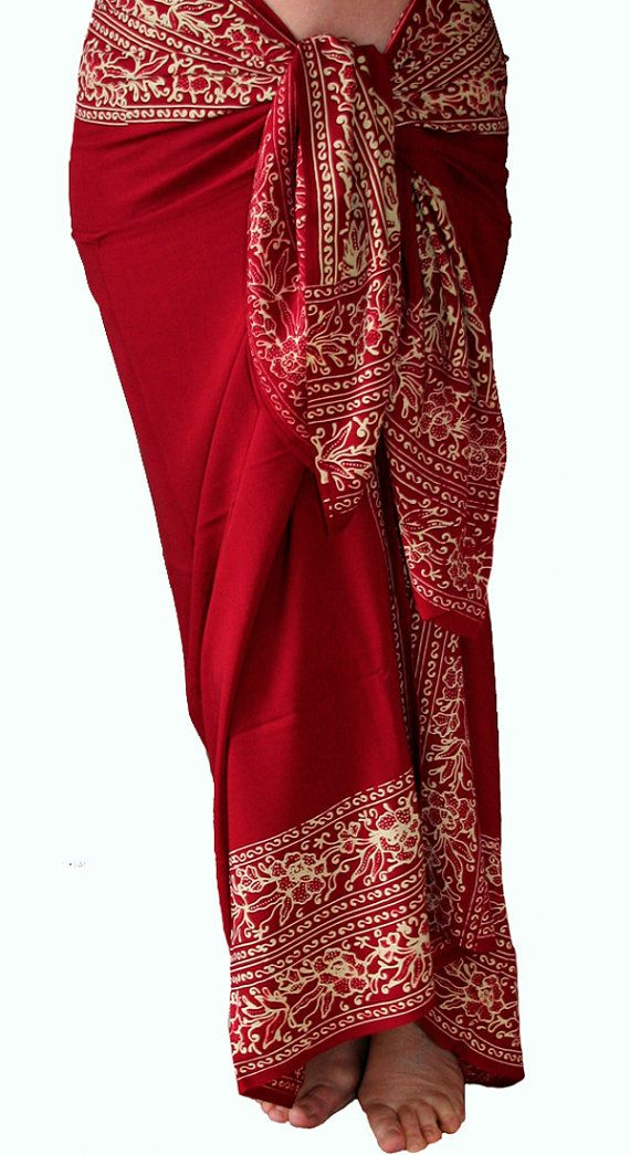 Solid Red Beach Sarong with Floral Border Swimsuit Coverup  Batik Pareo  by PuaWear, $39.00