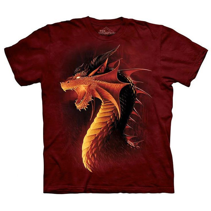 RED DRAGON Face The Mountain Angry Fire Breathing Fantasy Art T-Shirt S-3XL NEW #TheMountain #GraphicTee