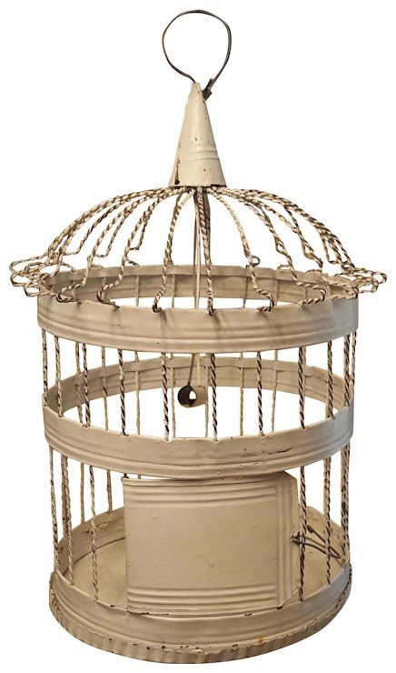 Authentic Vintage Primitive Shabby Chic White Painted Birdcage – Henri