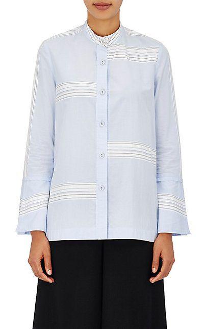 Derek Lam 10 Crosby Striped Cotton Poplin Banded Collar Shirt - Tops - 504958143