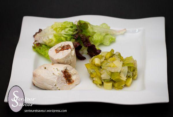 Je vous propose maintenant une recette de Ballotine de poulet farci aux tomates séchées et au Boursin cuisine. C'est une jolie façon de cuisiner le poulet, c'est très visuel. La viande …
