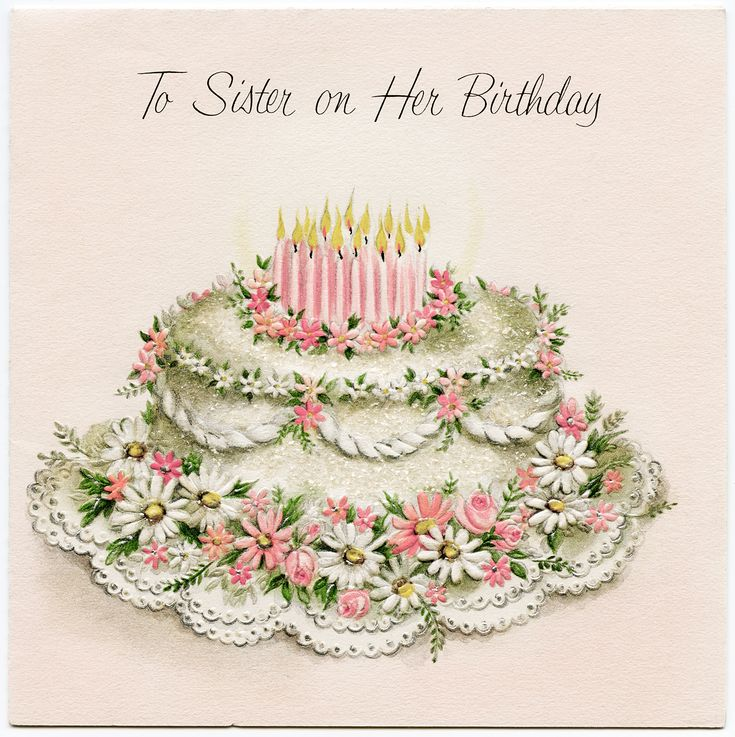 Vintage Cards Free | Free Vintage Sister Birthday Greeting Card | Old Design Shop Blog